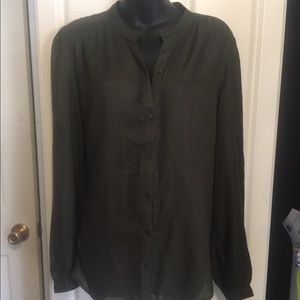 Army green semi-sheer blouse